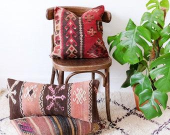 Vintage Turkish Kilim Pillow Cover, Bohemian Decorative Pillow, Boho Pillow, Southwestern Pillow, Turkish Kilim, Red Kilim, Boho Cushion