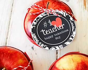Valentine for Teacher Party Tags - Cupcake Toppers - Printable Valentines Day Party Favors - Valentine Printables, Teacher Valentine Tags