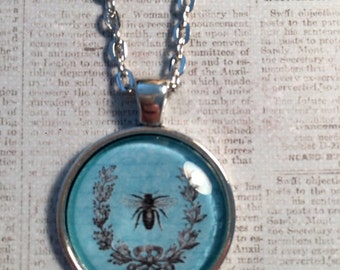 Bee : Glass Dome Necklace, Pendant or Keychain Key Ring. Bee pendant/Save the bees gift/bee lover/bee necklace/silver bee picture pendant.