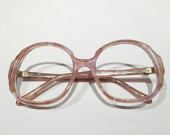 New Old Stock, Vintage Original Diane Von Furstenberg Pink Glasses Frames, NOS, Unused Round Oversized FLAMINGO Eyeglass or Sunglass Frames