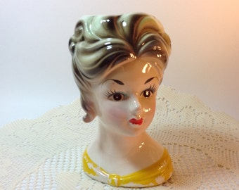 Vase Lady Head Vase Vintage Lady Head Vase Shabby Collectible Cottage Chic Decorative Accent