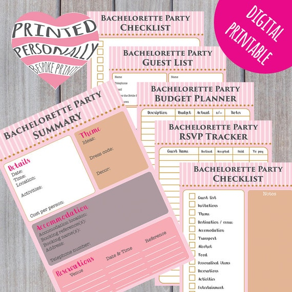 Bachelorette Party Planner Printable Hen Party Planner