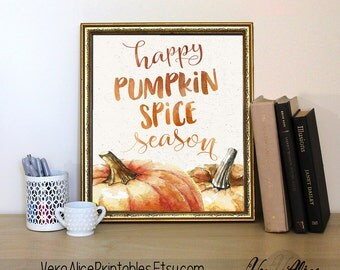 Happy Pumpkin Spice Season Fall Printable Art Print 8x10, Fall Decor, Autumn Sign, Chalkboard, Watercolor Pumpkins, Home Decor, Thanksgiving