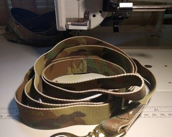 "Military Multicam Camo Tubular Webbing Leash 48"" 60"" 72"" 4Paws Custom Collars"