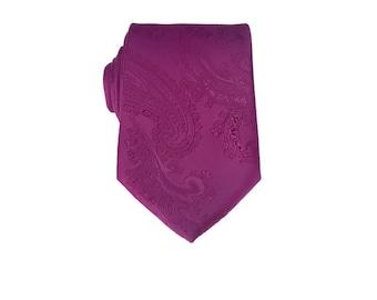 Deep Lilac Paisley Tie.Deep Lilac Necktie.Wedding Tie.Silk Tie For Men.Groom Gifts