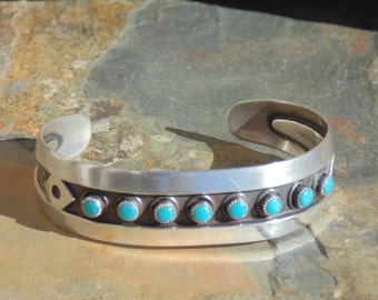 Bell Trading Post - Sterling Silver with Turquoise Blue Cabs Cuff Bracelet