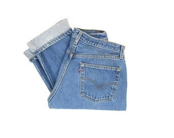 Vintage Levis 501 Jeans, 90s Levis Button Fly Jeans, High Waisted Jeans, Medium Blue Wash, Made in USA -- Mens / Unisex 32 x 31