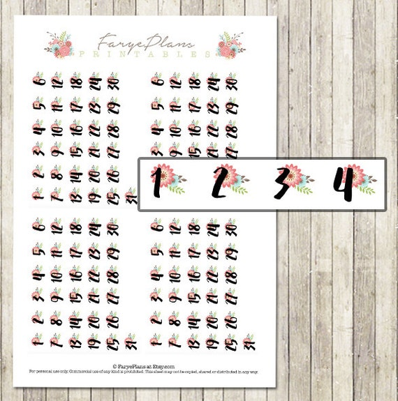 Printable personal dated planner stickers for Kate Spade