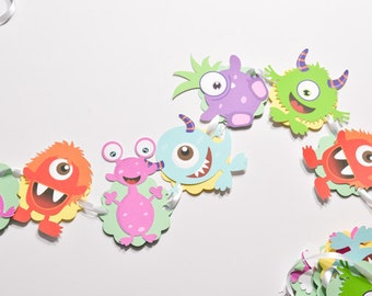 Birthday Monster Garland, Monster Party Decorations, Monster Banner Baby Shower, Monster Party Banners, Monster Party Supplies