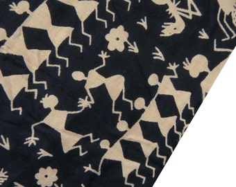 "Ethnic Fabric, Tribal Print Stretch Fabric, Black Cotton Fabric, Home Accessories, Sewing Decor, 42"" Inch Fabric By The Yard ZBC7111A"