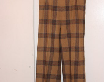 Vintage 60s Tan Plaid Wool High Waisted Cigarette Pants