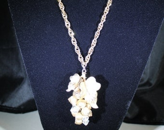 Vintage Gold Berries and Crystal necklace