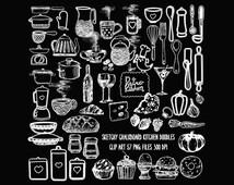 Chalkboard Sketchy Doodles Kitchen Value Pack Clip Art,57 png files, 300 dpi, Kitchen Cookery & Food Chalk Doodles, Commercial,Restaurant OK