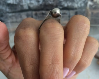 Unique sterling silver ball ring