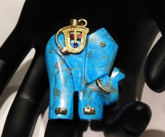 Turquoise Blue Howlite Elephant Pendant