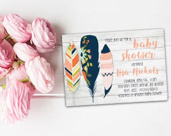 Feathers baby shower invite Boho feathers invite Bohemian invitation Feathers baby shower Boho baby shower Printable Feathers invite Boho