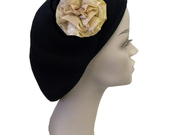 Ladies Black Beret Hat With a Satin and Lace Ruffle Flower Fashionable Comfortable Cotton Womens Beret