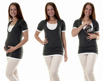 Maternity shirt still shirt 3 in 1 graphite short sleeve maternity wear
