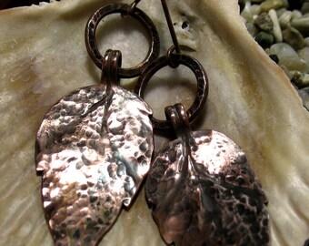 Handmade leaf copper earrings, hammered, item 150075.