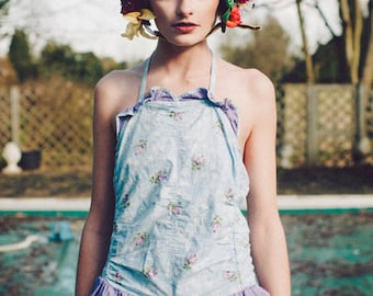 STATEMENT Floral Flower Bonnet / helmet / hat / headpiece / vintage / festival / drag / 70s