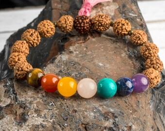 Mala Bracelet, Chakra Bracelet, Men Yoga Bracelet, Rudraksha Bracelet, Wood Beaded Bracelet