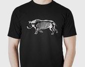 Rhino Skeleton T-shirt Original Endangered Animal Punk Skull Bones Graphic Tee Unisex 100% Cotton Tshirt S,M,L,XL,XXL,3XL