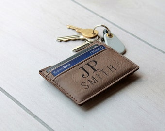 Leather Money Clip, Personalized Money Clip, Leather Wallet, Engraved Money Clip, Groomsmen Gift, Bachelor Party Gifts --LMC-DB-JPSMITH