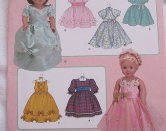 Simplicity 3547 Princess Dresses for 18 inch Doll - American Doll - Sewing Patterns - Uncut
