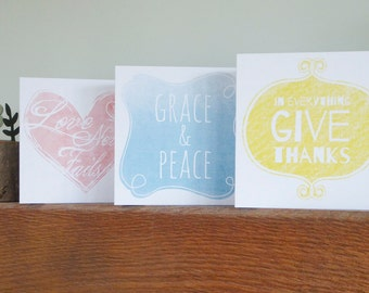 Set of three bible verse greeting cards - Love, Grace,Peace and Thanks