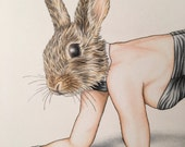 Bunny Burlesque Artwork Zoo Print 11x14