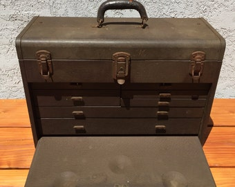 Vintage Kennedy Model 520 Metal Machinist Tool Box Chest; Metal Tool Box; Kennedy Kits 520; Industrial Decor; Vintage Tool Box
