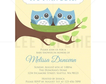 bstb001 twin baby shower invitation blue twin owls in nest baby shower invite