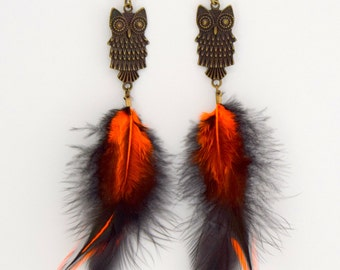 Earrings feathers orange and black. pierced ear owl, earring feathers holiday jewelry, nigth