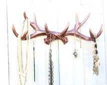 Faux Deer Antler Decor - Hunting Wall Decor - Faux Taxidermy - Wall Jewelry Holder - Rose Gold Decor - Necklace Organizer - Hunting Nursery