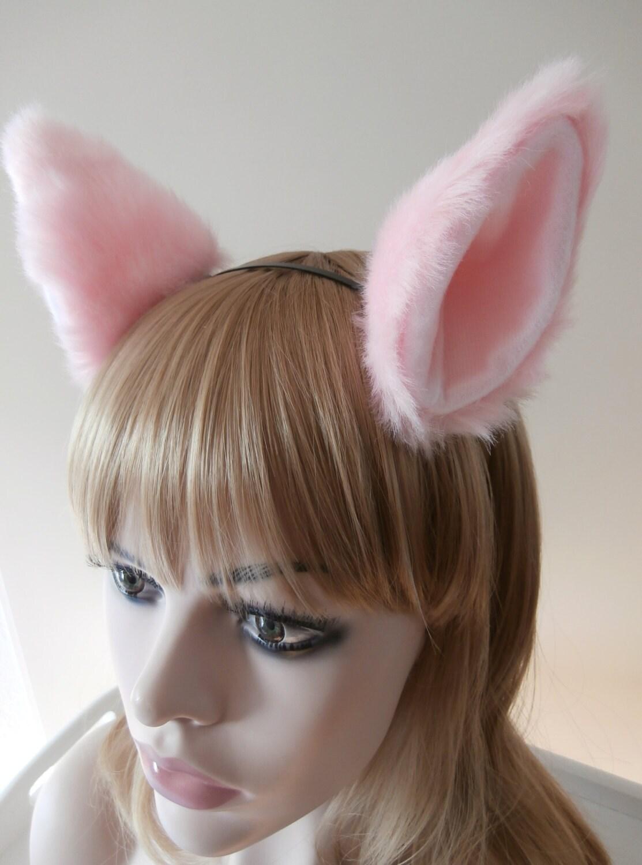 big cat miss piggy wolf fox ears kitty hair clips soft pink fur cosplay costume halloween