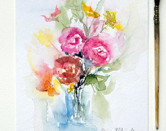 Original watercolor bunch flowers, Original painting bunch of flowers, mother's day gift
