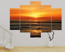 5 panel Canvas Modern Art Tangerine Dream,(over 1 metre) Orange 36 x 50 inch Art Print Canvas Wall Art Unframed Canvas Contemporary Modern!