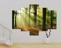 "5 panel Canvas wall Art Green Mystical Forest 36 x 50"" Art Trees Print Canvas Wall Art Unframed Contemporary!!"