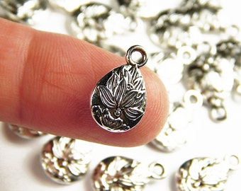 5 - 10 or 25 Pieces Tibetan Silver Lotus Flower Charms - 15x10mm - Yoga Charms - Jewelry Supplies - Charms - Craft Supplies