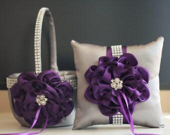 Plum Flower Girl Basket / Gray Ring Bearer Pillow / Egg Plant Bearer / Gray Wedding basket \ Plum Wedding Pillow / Plum Wedding basket