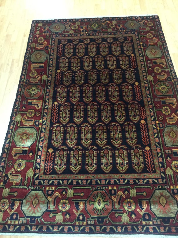 """4'4"""" x 6'8"""" Antique Persian Saraband Oriental Rug - 1930s - Hand Made - 100% Wool"""