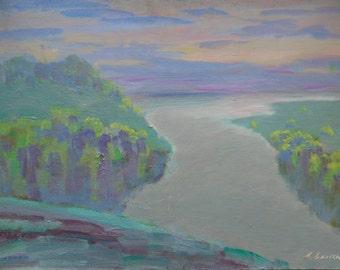 VINTAGE OIL LANDSCAPE Original Oil Painting by a Soviet Ukrainian painter A. Belsky 1990s, Signed, Fine Art, Nature Painting
