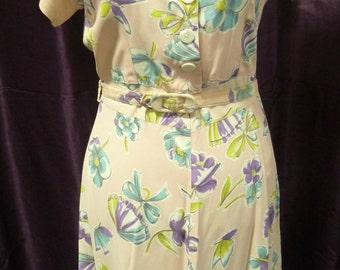 Vintage 1940's Floral Tea Dress