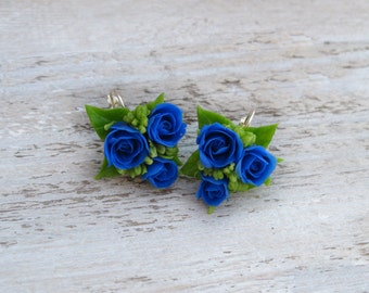 Blue gifts for women gift ideas for friends Cobalt blue jewelry Blue rose earrings Blue flower earrings Blue flower jewelry Floral earrings