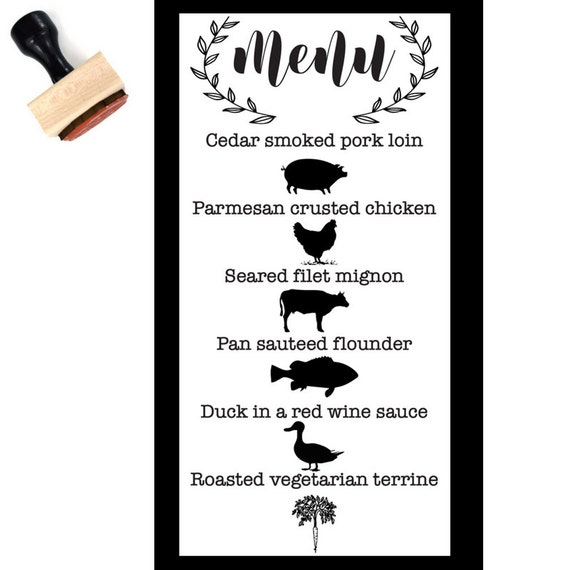 Menu icon rubber stamp mini menu stamps wedding stamps for Wedding rsvp cards stamps