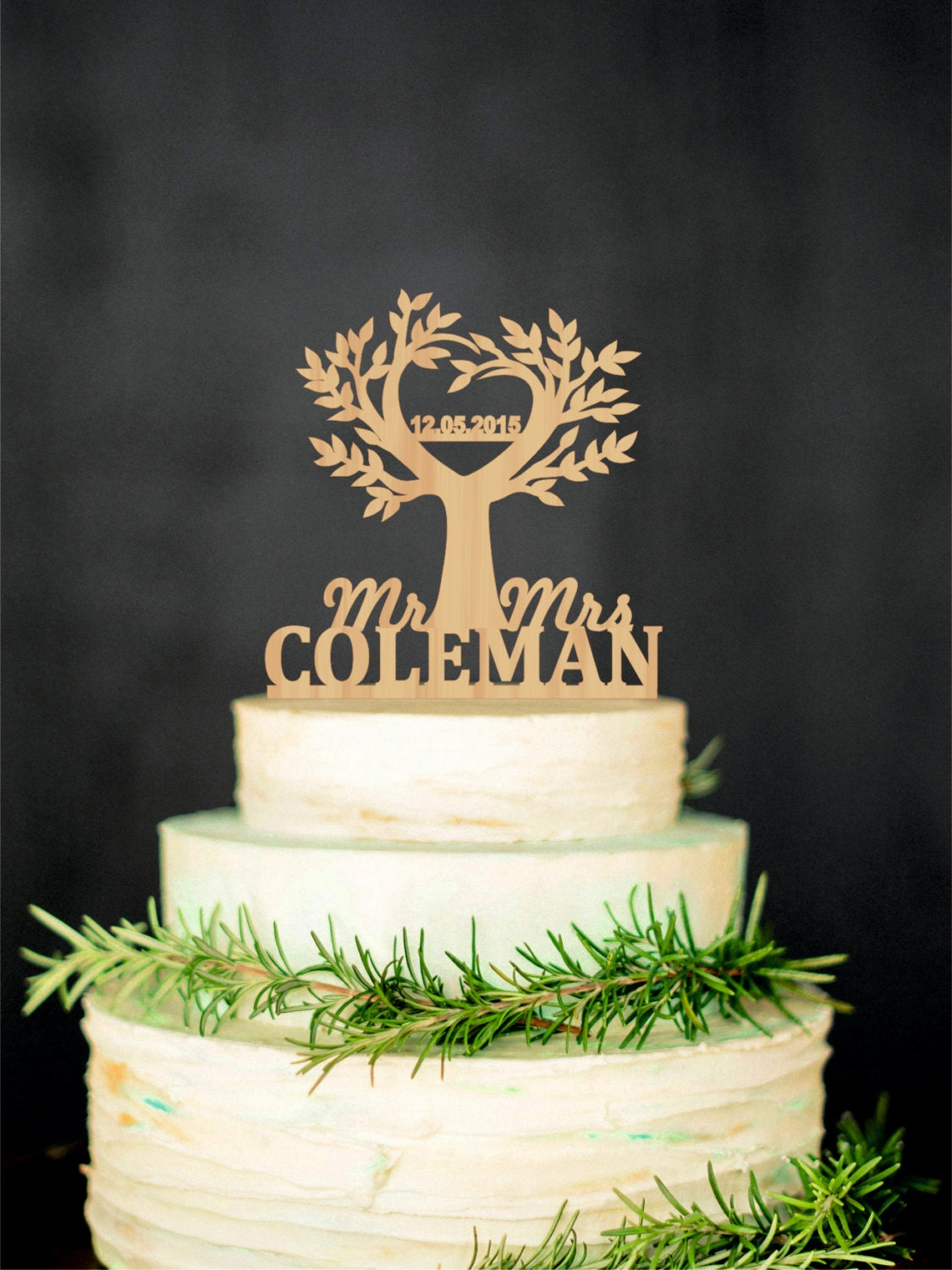 Tree Cake Topper Wedding Rustic Cake Topper By