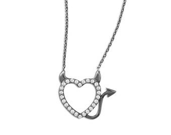 Devilish Heart CZ Necklace