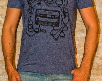 Men's T-shirt Cassette Mix Tape urban Design V-neck Green Khaki, Blue Salmon and Black