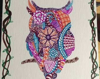 Owl, Original Zentangle, Hand Drawn, Bird Art, Colorful Art