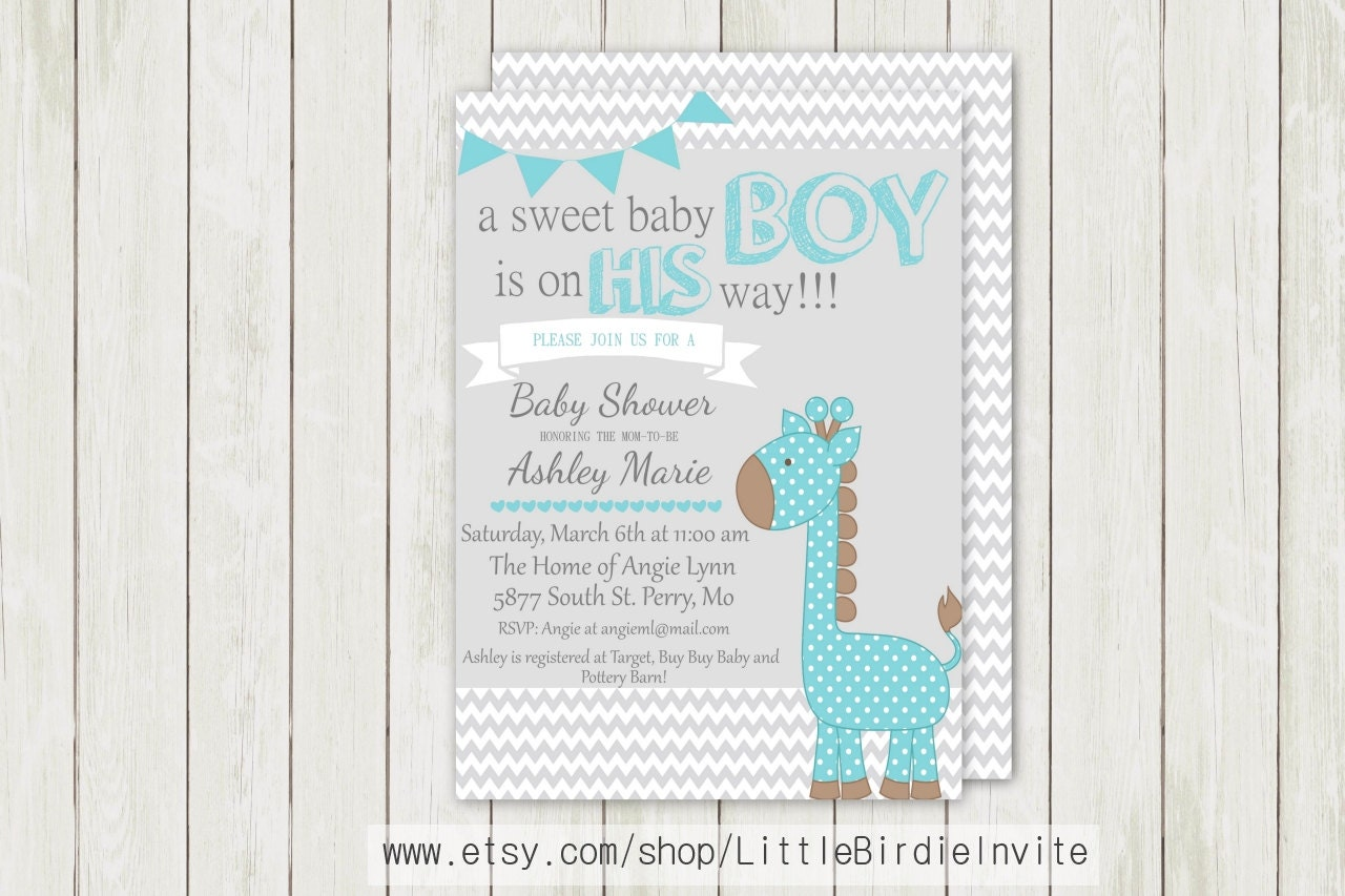 blue giraffe baby shower invitation by littlebirdieinvite on etsy